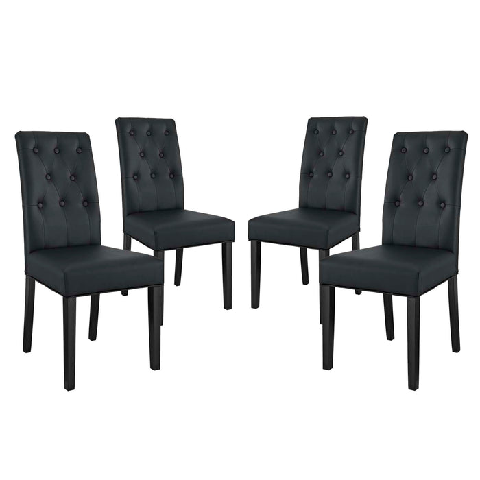 Modway Confer Dining Side Chair Vinyl Set of 4 in Black