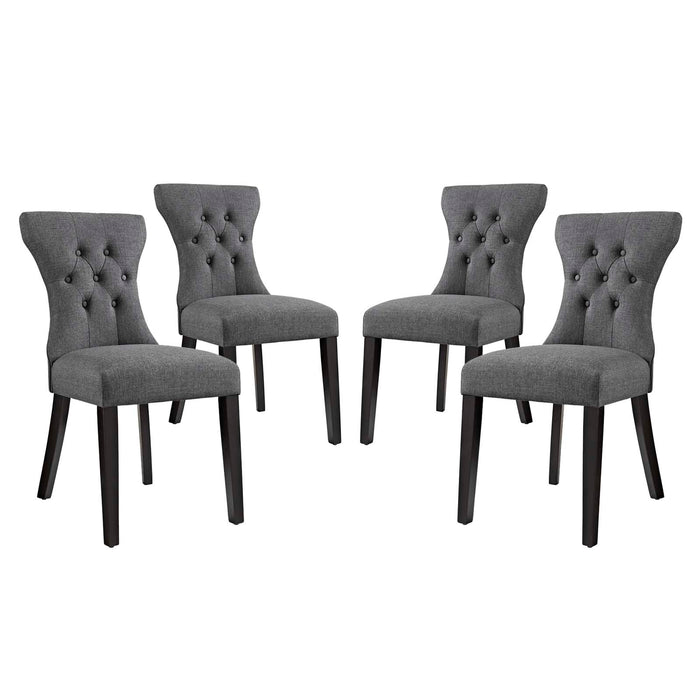 Modway Silhouette Dining Side Chairs Upholstered Fabric Set of 4 in Gray