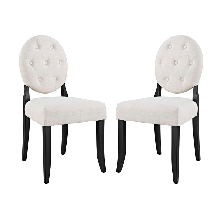 Modway Button Dining Side Chair Upholstered Fabric Set of 2 in Beige