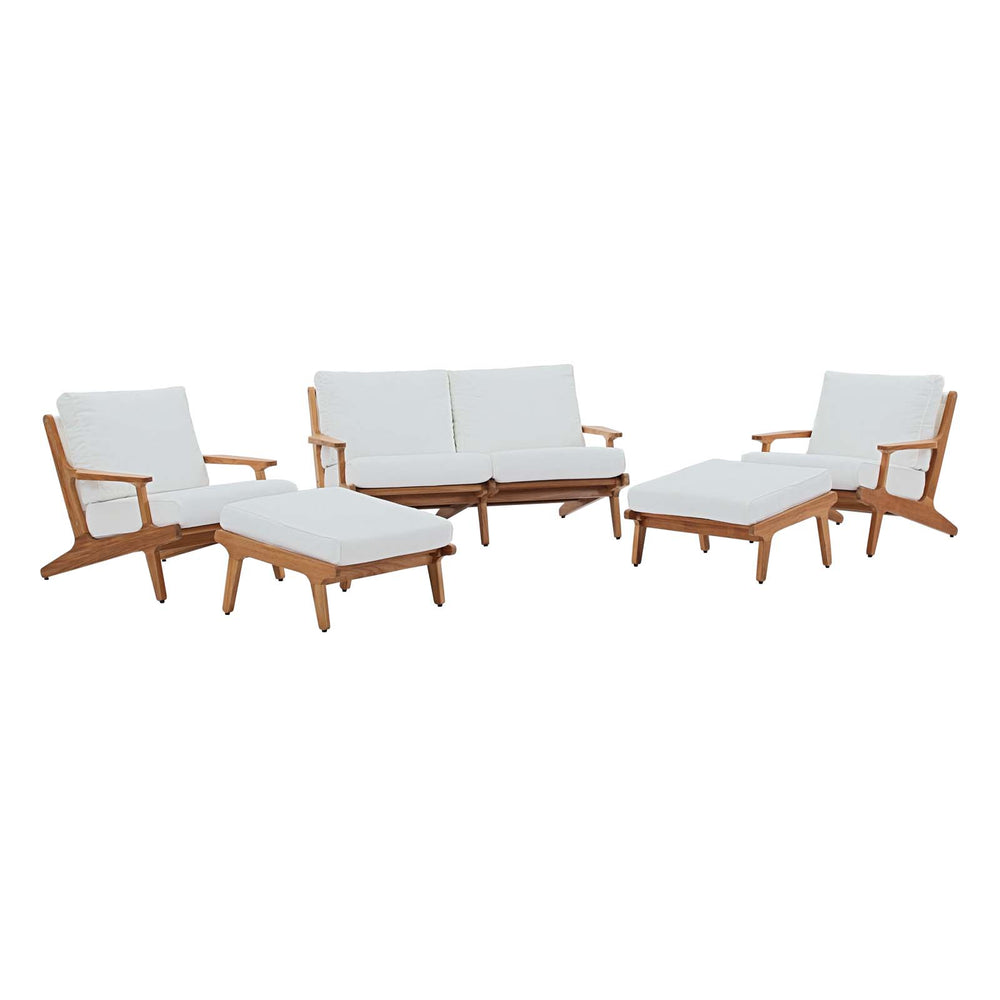 Modway Saratoga 5 Piece Outdoor Patio Teak Set in Natural White