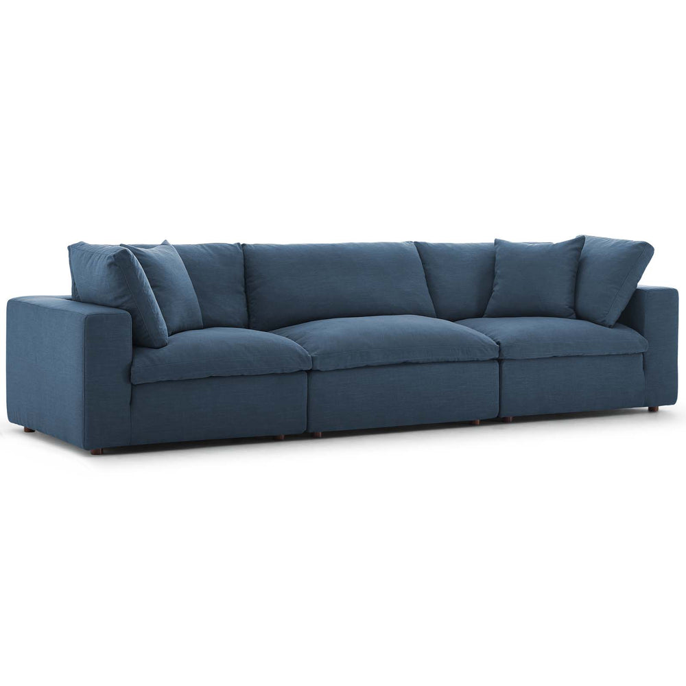 Modway Commix Down Filled Overstuffed 3 Piece Sectional Sofa Set in Azure