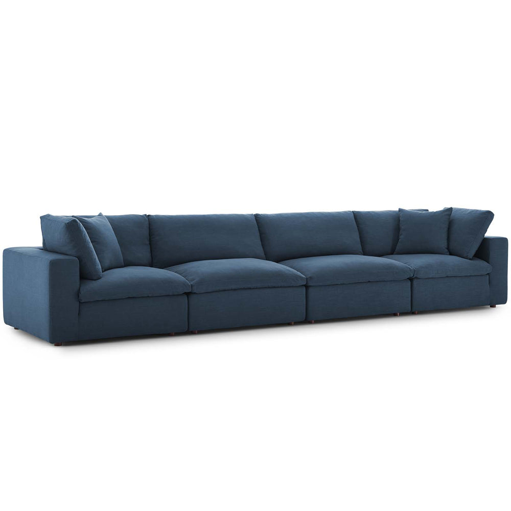 Modway Commix Down Filled Overstuffed 4 Piece Sectional Sofa Set in Azure