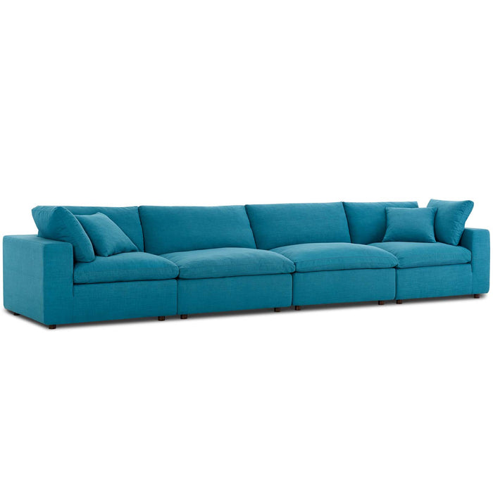 Modway Commix Down Filled Overstuffed 4 Piece Sectional Sofa Set in Teal
