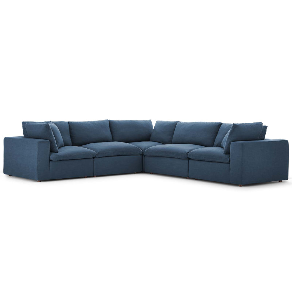 Modway Commix Down Filled Overstuffed 5 Piece Sectional Sofa Set in Azure