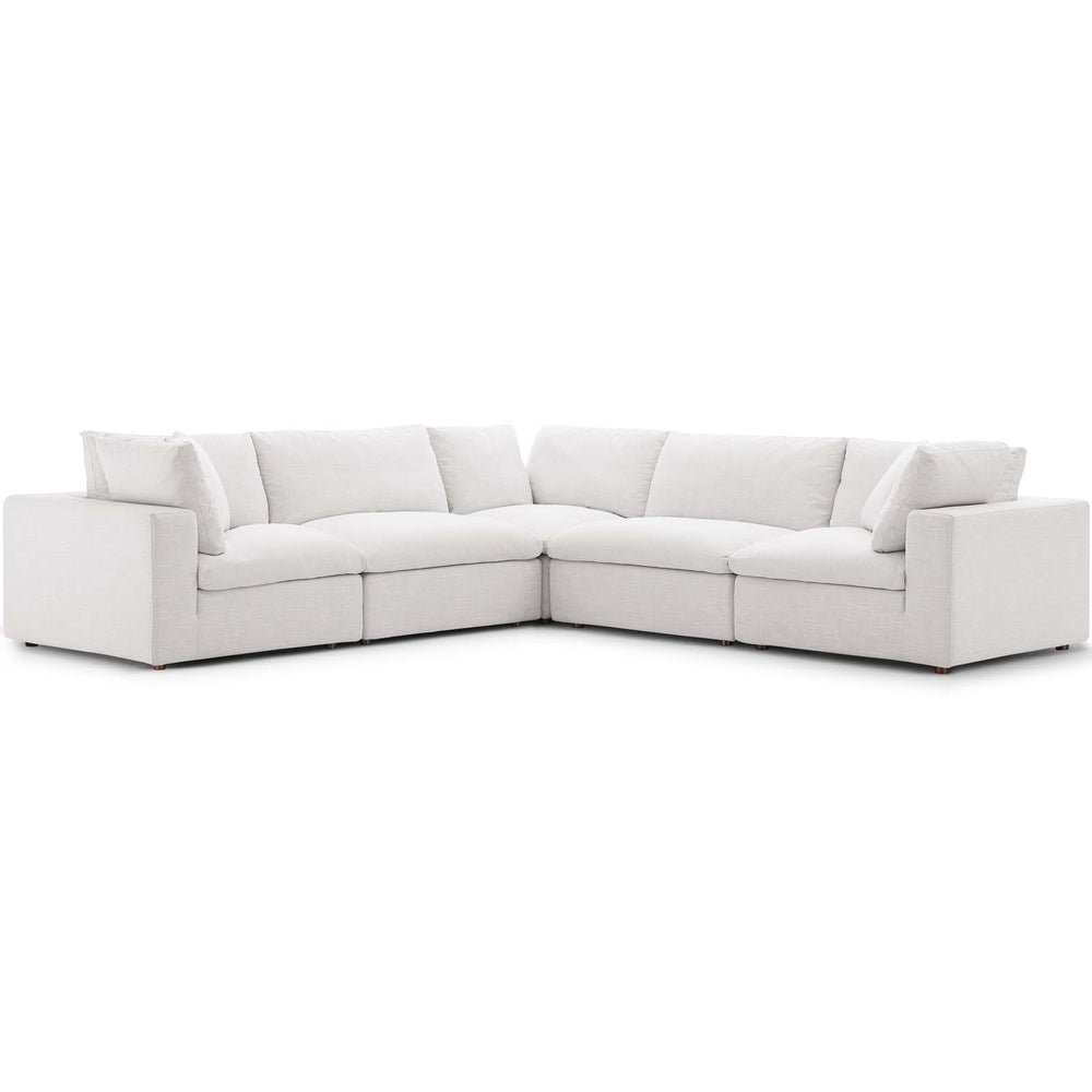 Modway Commix Down Filled Overstuffed 5 Piece Sectional Sofa Set in Beige