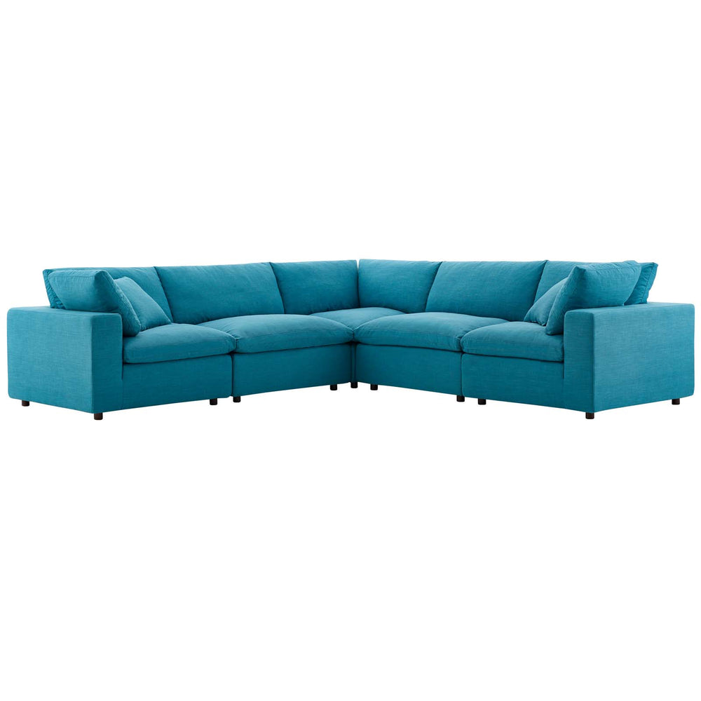 Modway Commix Down Filled Overstuffed 5 Piece Sectional Sofa Set in Teal