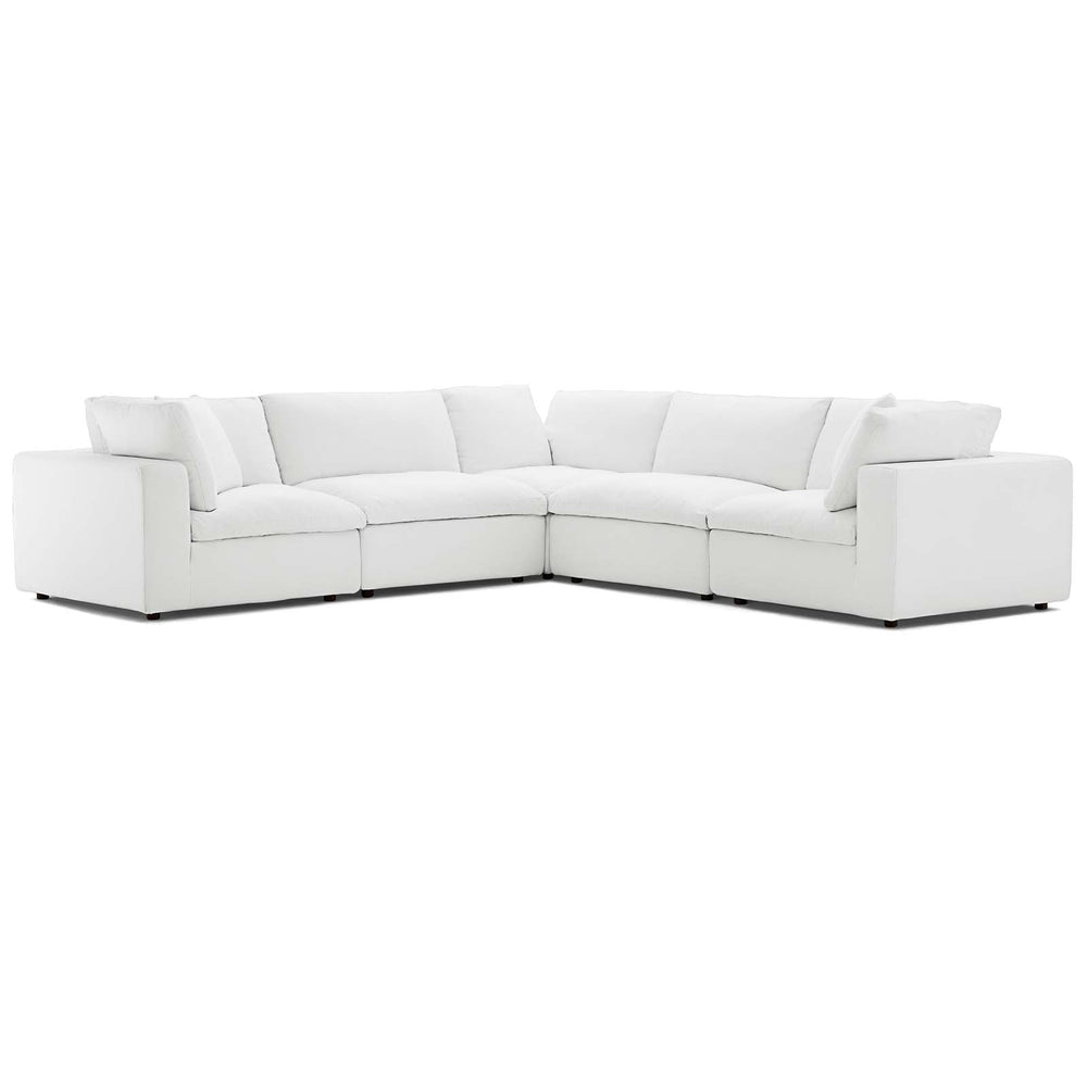 Modway Commix Down Filled Overstuffed 5 Piece Sectional Sofa Set in White