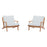 Modway Saratoga 2 Piece Outdoor Patio Teak Set in Natural White