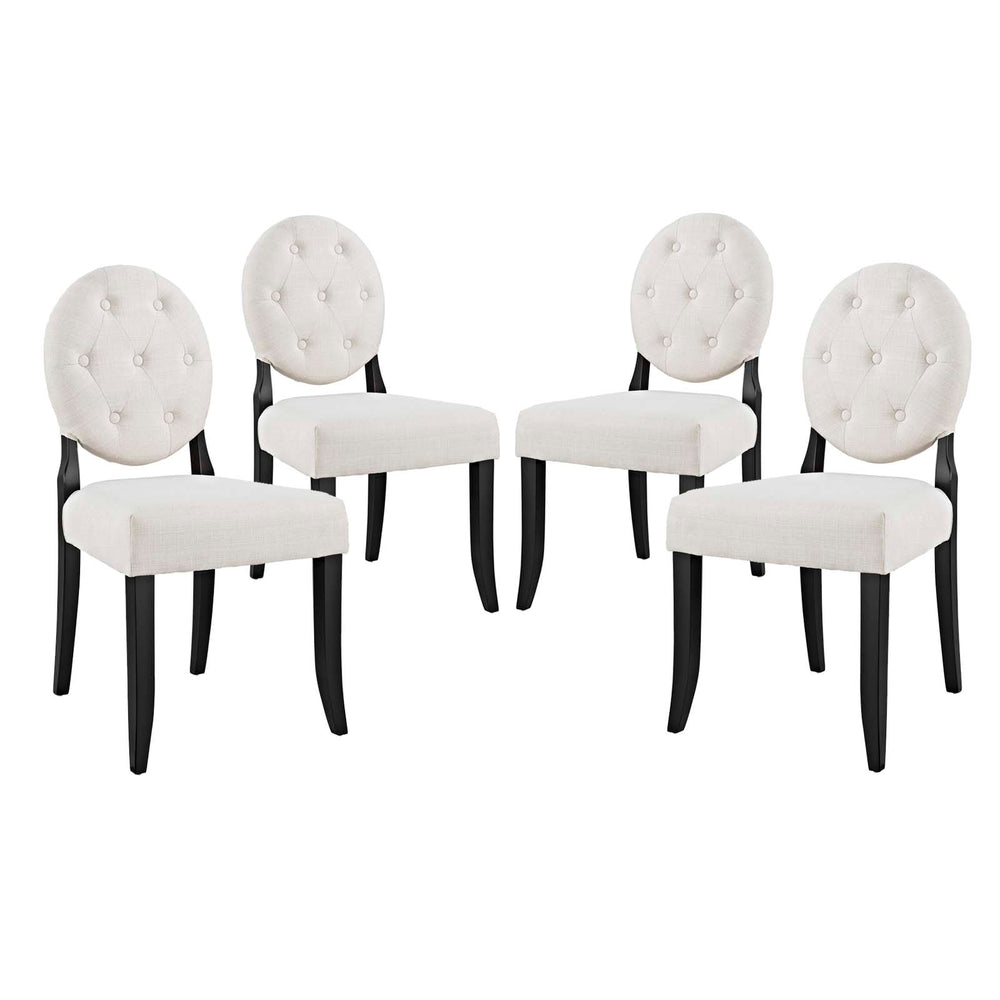 Modway Button Dining Side Chair Upholstered Fabric Set of 4 in Beige