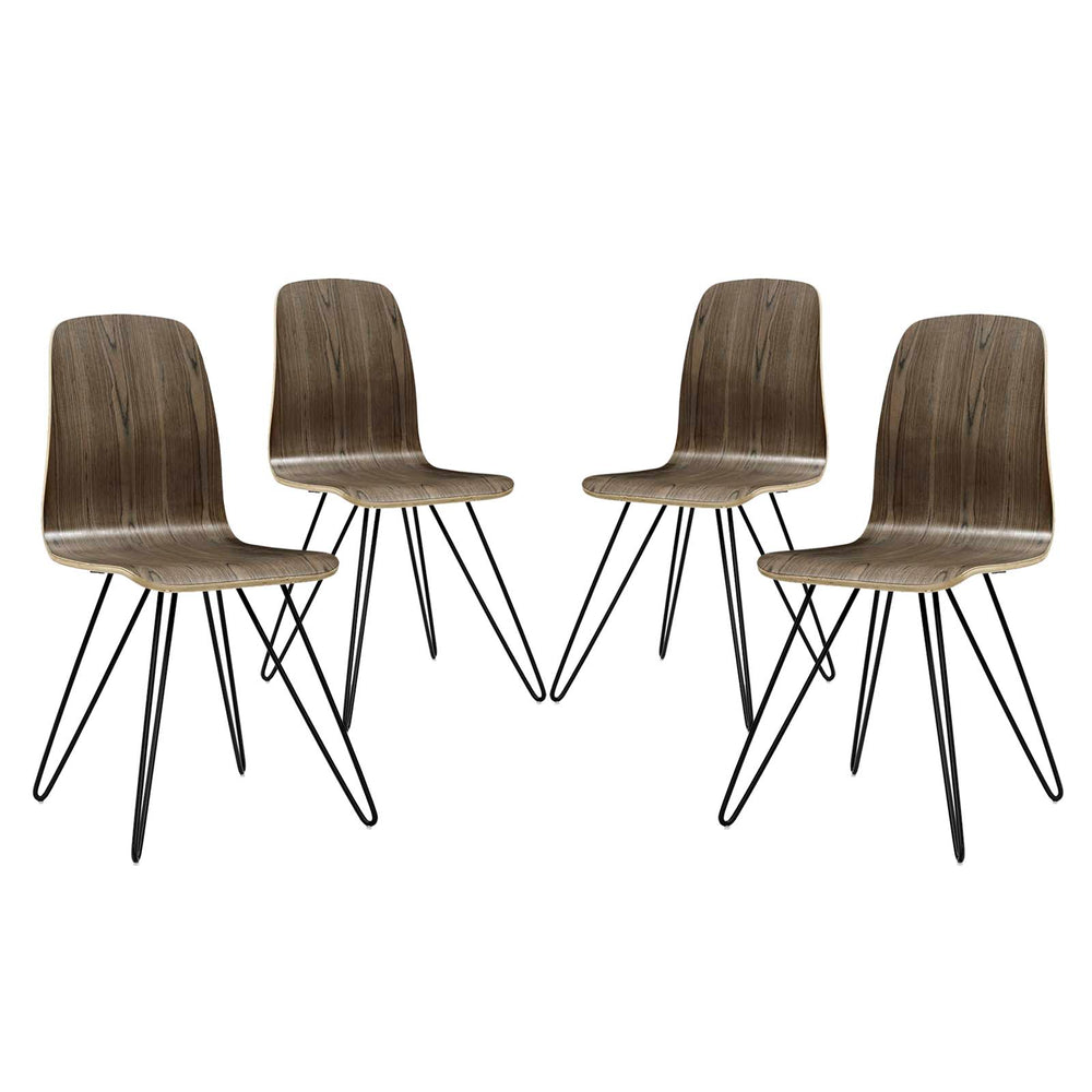 Modway Drift Dining Side Chair Set of 4 in Walnut