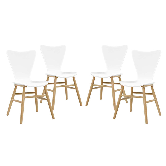 Modway Cascade Dining Chair Set of 4 in White