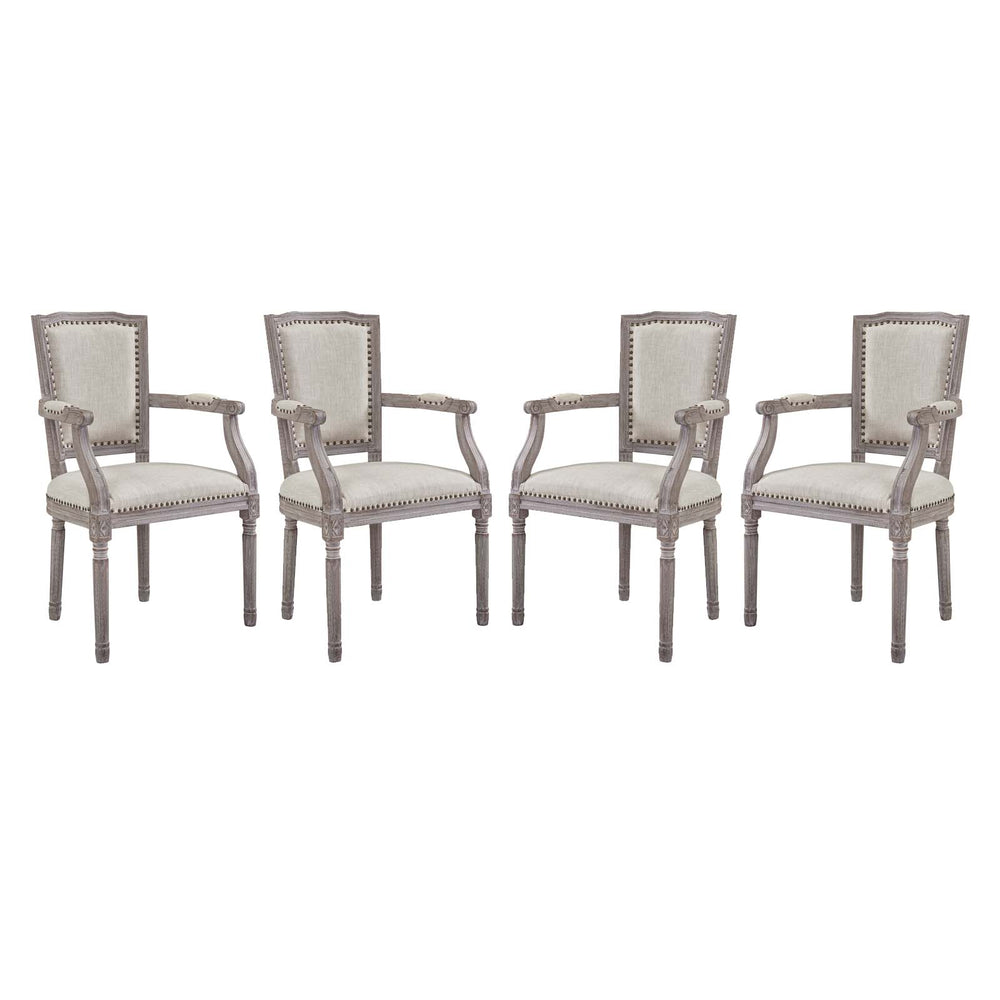 Modway Penchant Dining Armchair Upholstered Fabric Set of 4 in Beige
