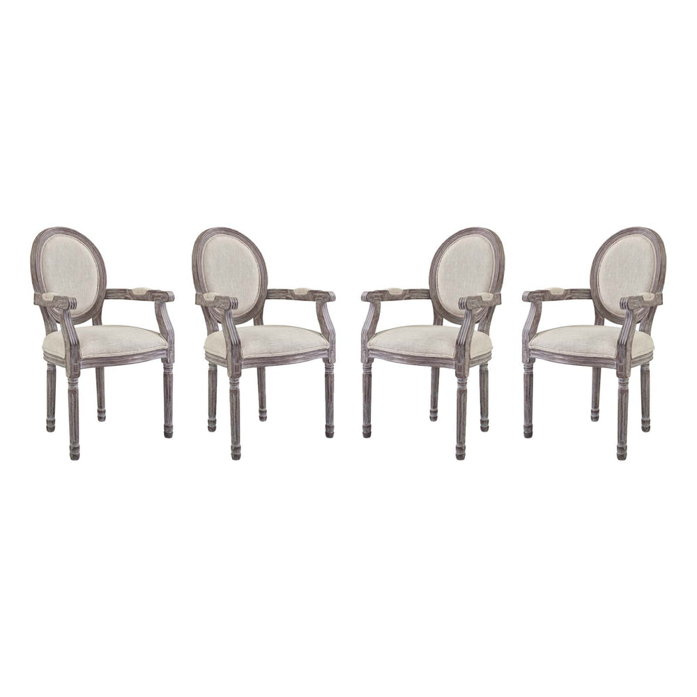 Modway Emanate Dining Armchair Upholstered Fabric Set of 4 in Beige