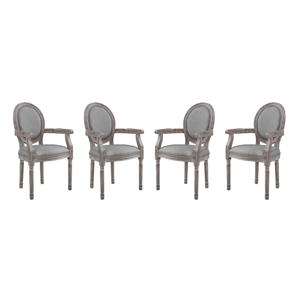 Modway Emanate Dining Armchair Upholstered Fabric Set of 4 in Light Gray