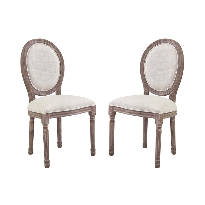 Modway Emanate Dining Side Chair Upholstered Fabric Set of 2 in Beige