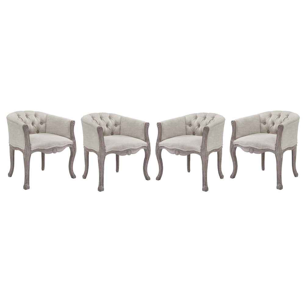 Modway Crown Dining Armchair Upholstered Fabric Set of 4 in Beige