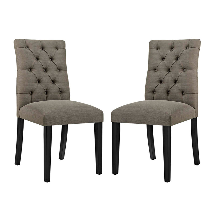 Modway Duchess Dining Chair Fabric Set of 2 in Granite