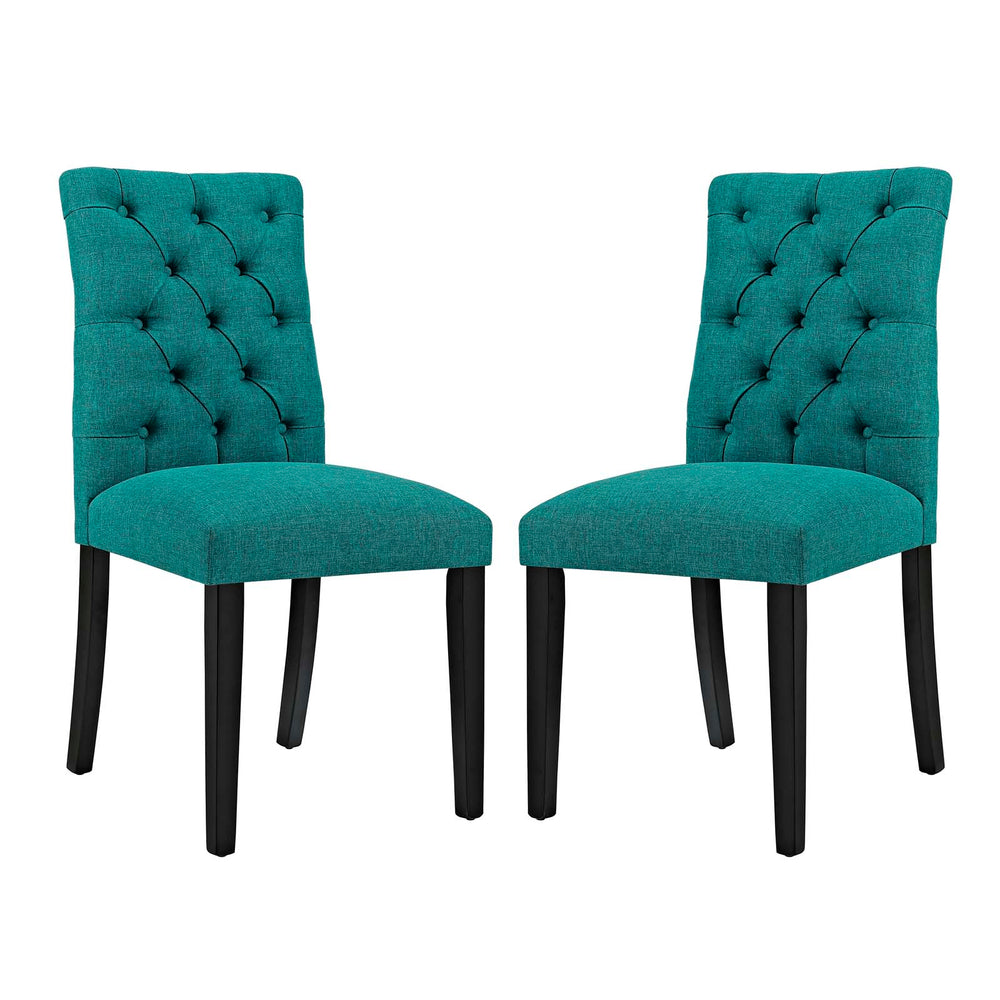 Modway Duchess Dining Chair Fabric Set of 2 in Teal