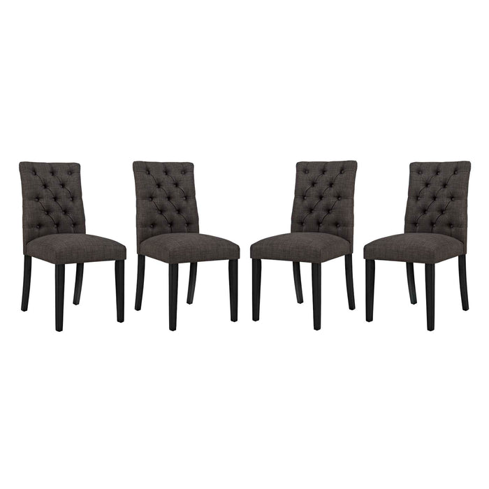 Modway Duchess Dining Chair Fabric Set of 4 in Brown
