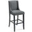 Modway Baron Upholstered Fabric Bar Stool in Gray