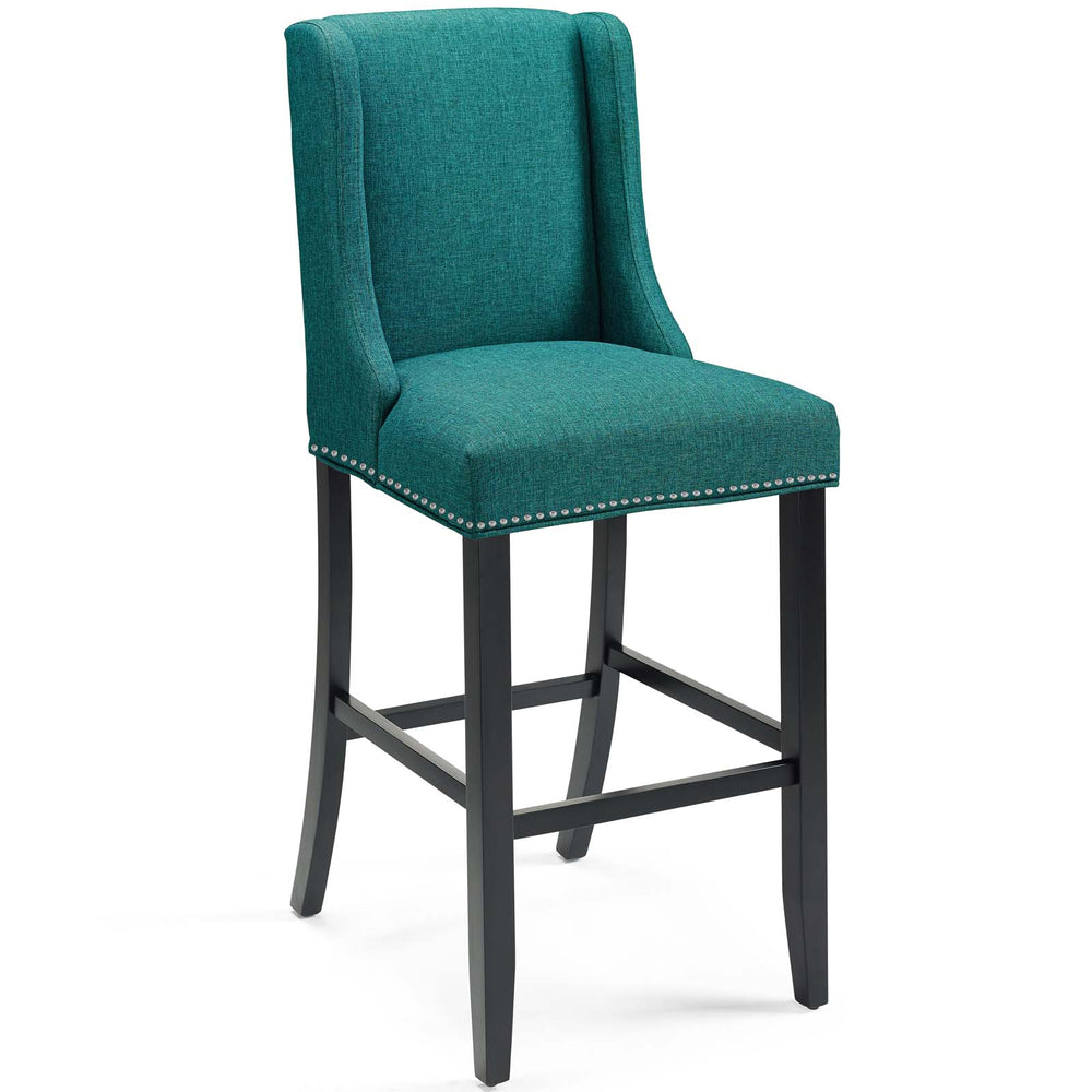 Modway Baron Upholstered Fabric Bar Stool in Teal