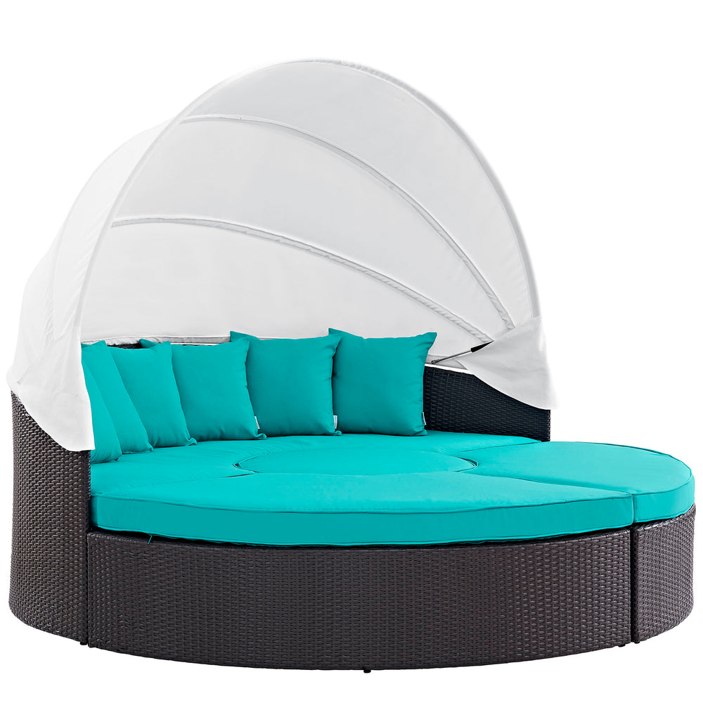 Quest Canopy Outdoor Patio Daybed in Espresso Turquoise by Modway