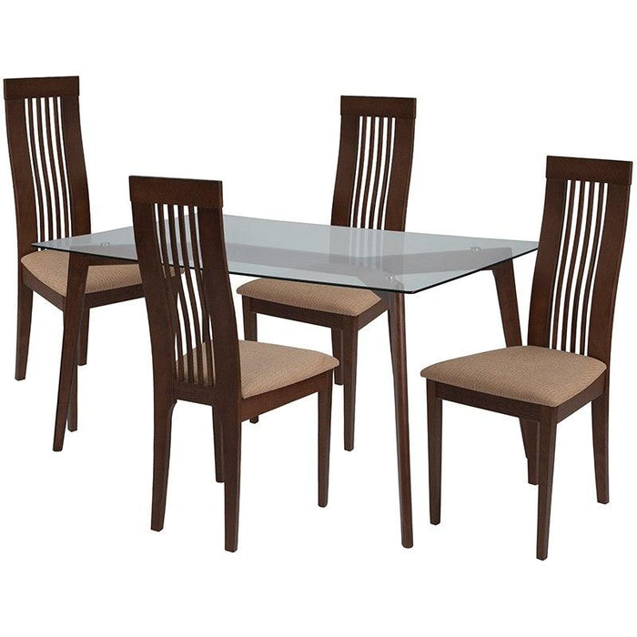 Swell Flash Furniture Es 135 Gg Arcadia 5 Piece Walnut Wood Dining Table Set With Glass Top And Framed Rail Back Design Wood Dining Chairs Padded Seats Download Free Architecture Designs Scobabritishbridgeorg