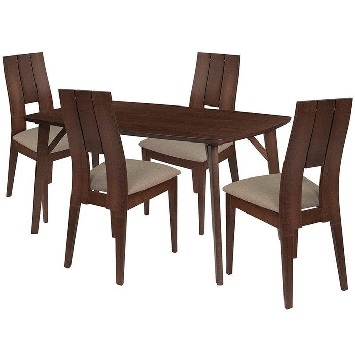 Flash Furniture Es 18 Gg Anderson 5 Piece Walnut Wood Dining Table Set With Curved Slat Keyhole Back Wood Dining Chairs Padded Seats