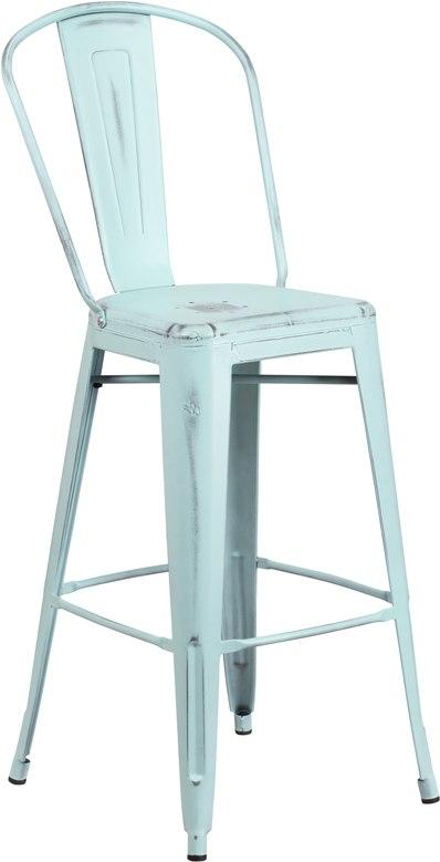 Flash Furniture ET-3534-30-DB-GG 30'' High Distressed Green-Blue Metal Indoor-Outdoor Barstool with Back