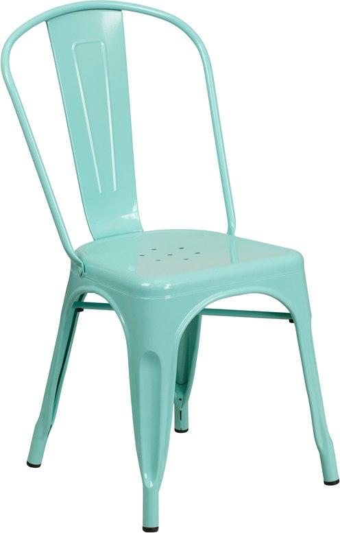Flash Furniture ET-3534-MINT-GG Mint Green Metal Indoor-Outdoor Stackable Chair