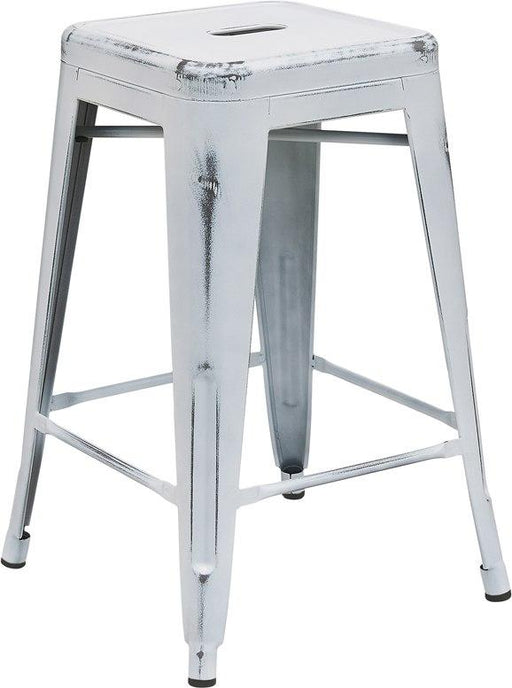 Flash Furniture ET-BT3503-24-WH-GG 24'' High Backless Distressed White Metal Indoor-Outdoor Counter Height Stool