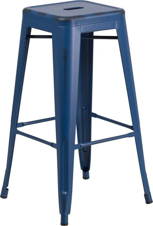 Flash Furniture ET-BT3503-30-AB-GG 30'' High Backless Distressed Antique Blue Metal Indoor-Outdoor Barstool