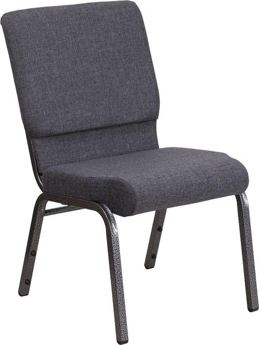 Flash Furniture FD-CH02185-SV-DKGY-GG HERCULES Series 18.5''W Stacking Church Chair in Dark Gray Fabric - Silver Vein Frame