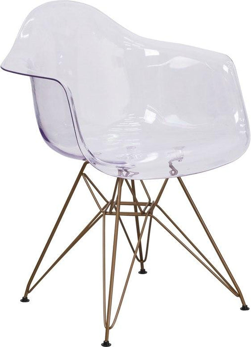 Flash Furniture FH-132-CPC1-GG Alonza Series Transparent Side Chair with Gold Base