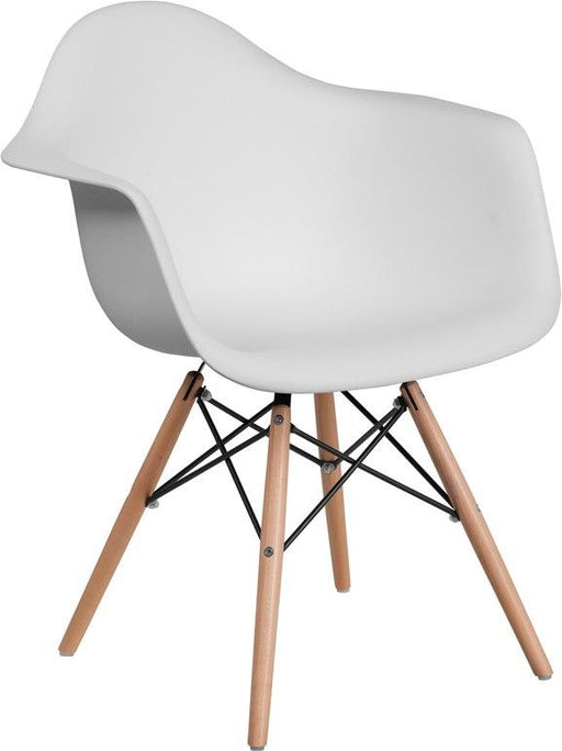 Flash Furniture FH-132-DPP-WH-GG Alonza Series White Plastic Chair with Wood Base