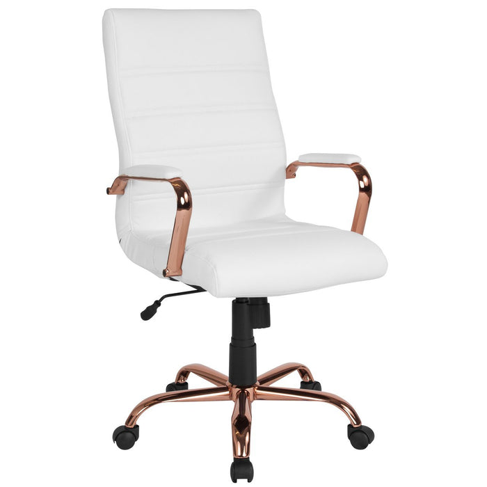 Flash Furniture GO-2286H-WH-RSGLD-GG High Back White Leather Executive Swivel Chair with Rose Gold Frame and Arms