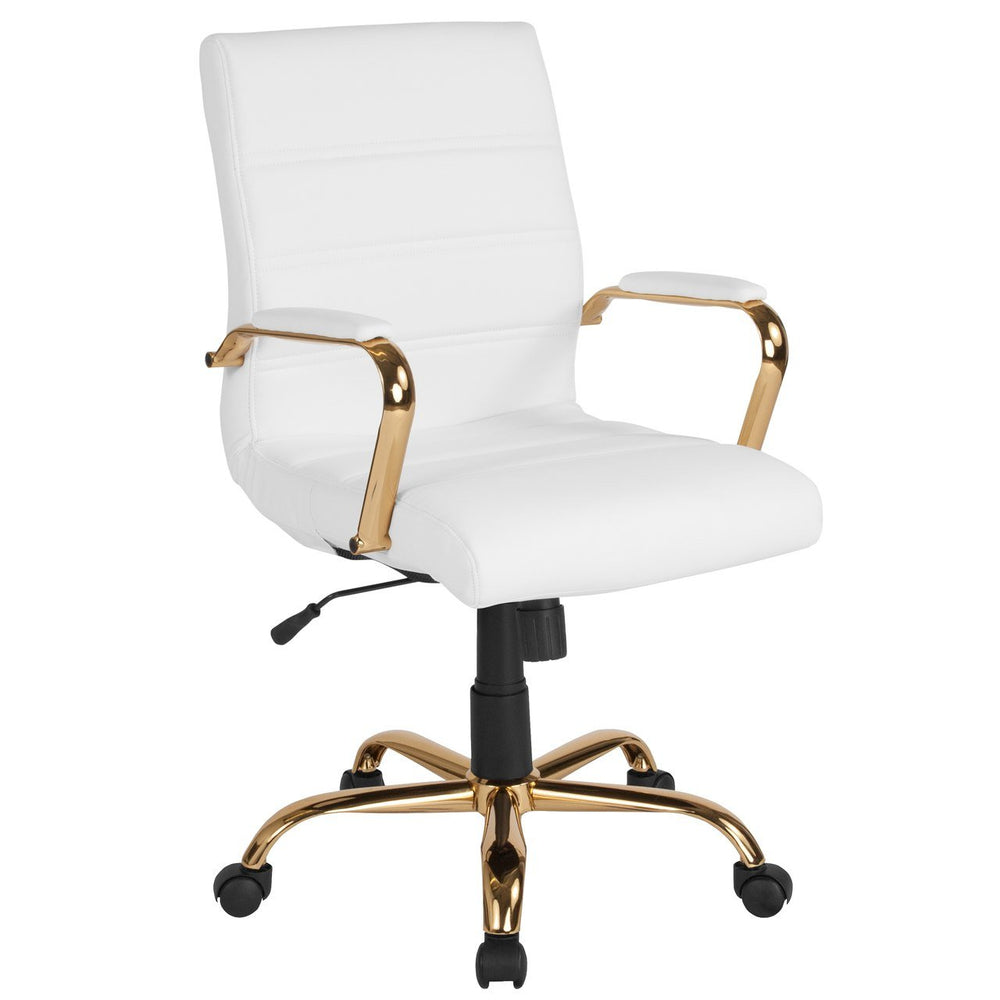 Flash Furniture GO-2286M-WH-GLD-GG Mid-Back White Leather Executive Swivel Chair with Gold Frame and Arms