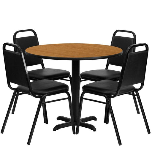 Flash Furniture HDBF1003-GG 36'' Round Natural Laminate Table Set with 4 Black Trapezoidal Back Banquet Chairs