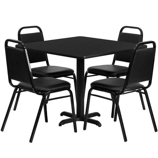 Flash Furniture HDBF1009-GG 36'' Square Black Laminate Table Set with 4 Black Trapezoidal Back Banquet Chairs
