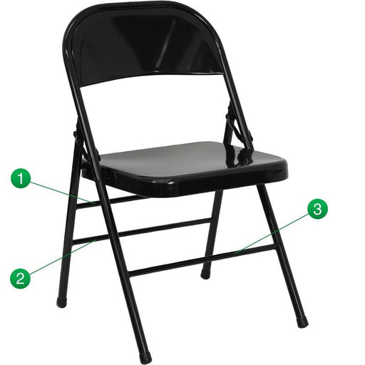 Flash Furniture HF3-MC-309AS-BK-GG HERCULES Series Triple Braced & Double-Hinged Black Metal Folding Chair