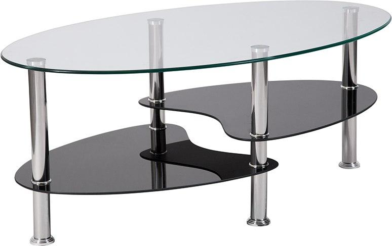 Flash Furniture HG-600920-GG Hampden Glass Coffee Table with Black Glass Shelves and Stainless Steel Legs