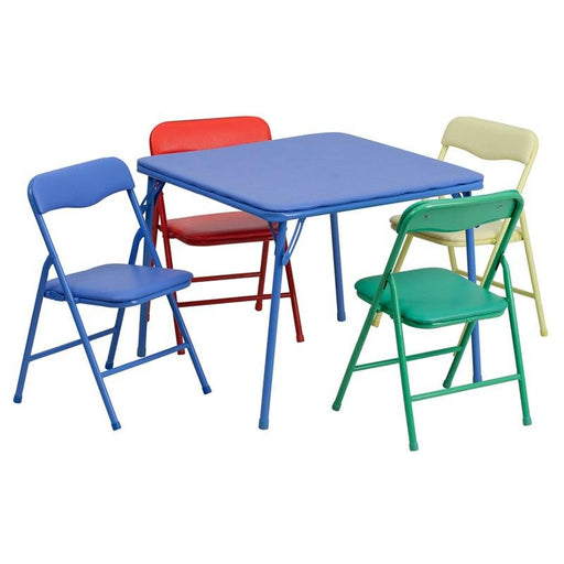 Flash Furniture JB-9-KID-GG Kids Colorful 5 Piece Folding Table and Chair Set