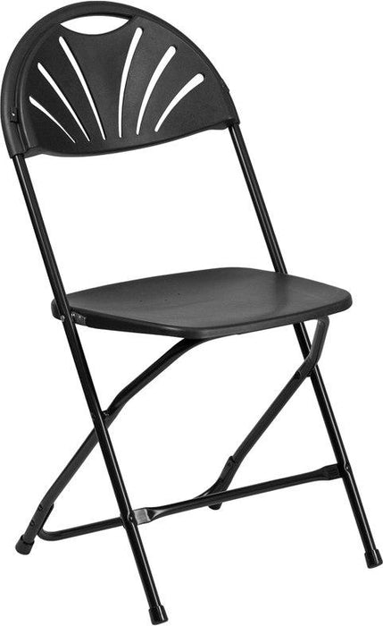 Flash Furniture LE-L-4-BK-GG HERCULES Series 650 lb. Capacity Black Plastic Fan Back Folding Chair