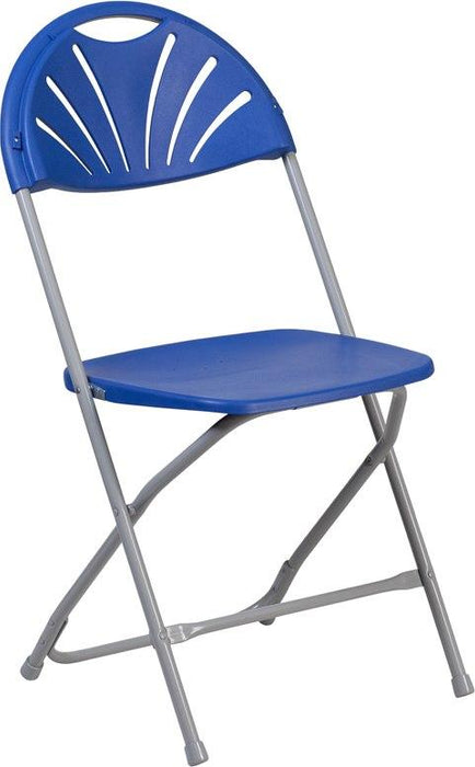 Flash Furniture LE-L-4-BL-GG HERCULES Series 650 lb. Capacity Blue Plastic Fan Back Folding Chair