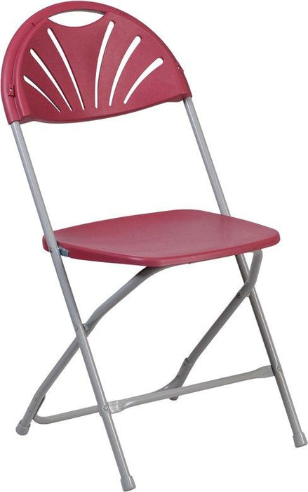 Flash Furniture LE-L-4-BUR-GG HERCULES Series 650 lb. Capacity Burgundy Plastic Fan Back Folding Chair