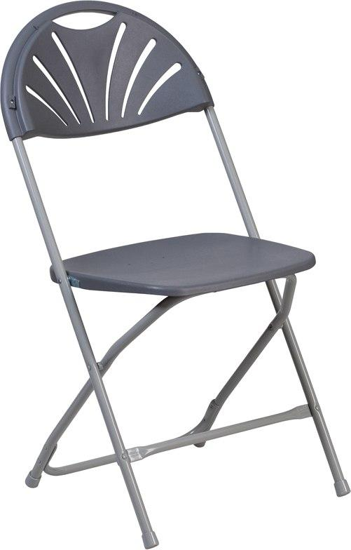 Flash Furniture LE-L-4-CH-GG HERCULES Series 650 lb. Capacity Charcoal Plastic Fan Back Folding Chair
