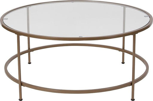 Flash Furniture NAN-JN-21750CT-GG Astoria Collection Glass Coffee Table with Matte Gold Frame