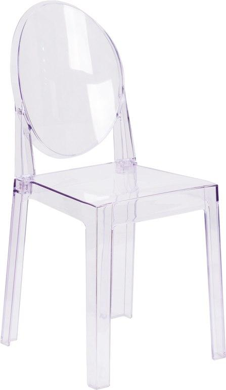 Flash Furniture OW-GHOSTBACK-18-GG Ghost Chair with Oval Back in Transparent Crystal