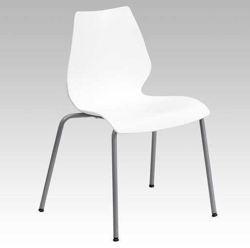 Flash Furniture RUT-288-WHITE-GG HERCULES Series 770 lb. Capacity White Stack Chair with Lumbar Support and Silver Frame