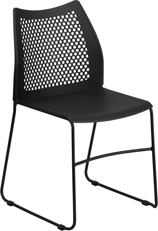 Flash Furniture RUT-498A-BLACK-GG HERCULES Series 661 lb. Capacity Black Sled Base Stack Chair with Air-Vent Back